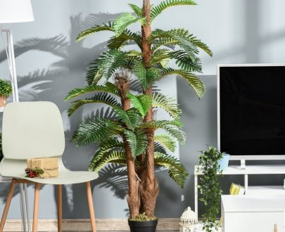 Outsunny Artificial Fern Tree Decorative Plant 36 Leaves with Nursery Pot, Fake Plant for Indoor Outdoor Décor, 150cm 5056399144110