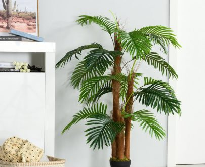 Outsunny Artificial Palm Tree Decorative Plant 19 Leaves with Nursery Pot, Fake Tropical Tree for Indoor Outdoor Décor, 120cm 5056399144127