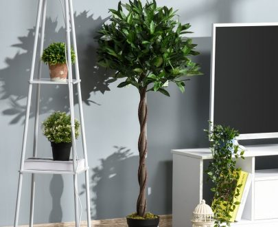 Outsunny Set of 2 Artificial Topiary Bay Laurel Ball Trees Decorative Plant with Nursery Pot for Indoor Outdoor Décor, 120cm 5056399144141