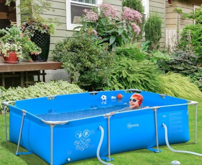 Outsunny Steel Frame Pool with Filter Pump and Filter Cartridge Rust and Reinforced Sidewalls Resistant Above Ground Pool, 315 x 225 x 75cm, Blue 5056029873427